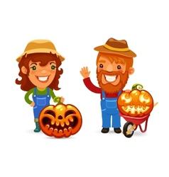 Farmers With Halloween Pumpkins vector image vector image