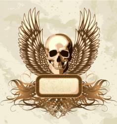 vintage skull emblem vector image vector image