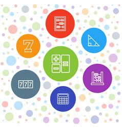 7 math icons vector