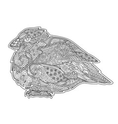 adult coloring book page with serious little bird vector image