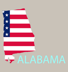 Alabama state of america with map flag print on vector