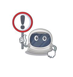 An icon astronaut helmet cartoon with a sign board vector