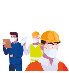 Architec and operators wearing face masks vector