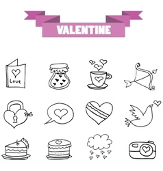 art of valentine element with hand draw vector image
