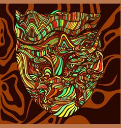 Bizarre surreal tribal colorful shaman face vector