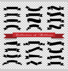 black ribbons banners on transparent background vector image