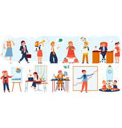 Business people children set vector