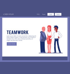 Business people joining hands as a team vector