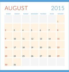 Calendar 2015 flat design template August Week vector