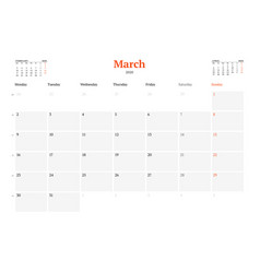 Calendar template for march 2020 business monthly vector