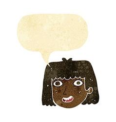 Cartoon happy female face with speech bubble vector