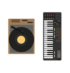 cartoon musical instrument set gramophone vector image