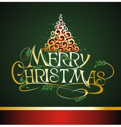 Christmas lettering with tree background vector image