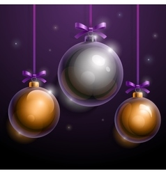 Christmas tree silver and golden realistic shiny vector