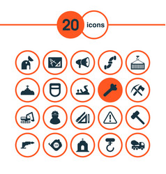 Construction icons set with observatory hammer vector