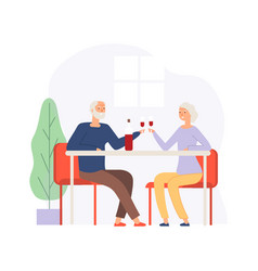 couple on meeting elderly people on restaurant vector image