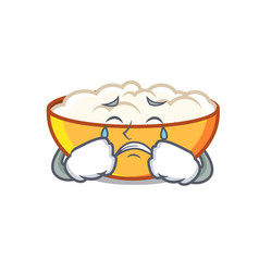 Crying cottage cheese mascot cartoon vector