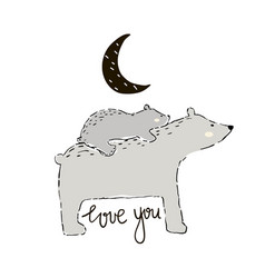 Cute hand drawn bear mom with little one vector