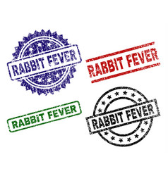 damaged textured rabbit fever seal stamps vector image