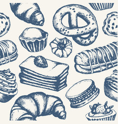 Delicious sweets - monochromatic hand drawn vector
