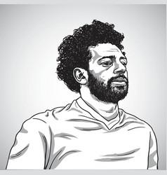 Drawing of mo salah portrait cartoon vector