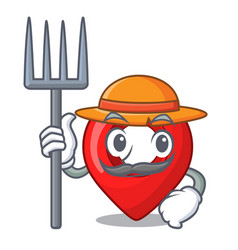 farmer gps navigation pin on character cartoon vector image