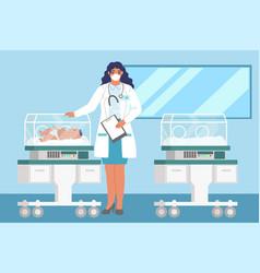 Female doctor standing next to newborn baby vector