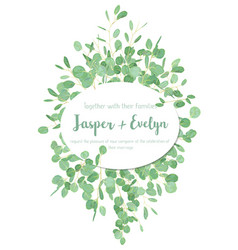 Festive oval frame wedding invitation greeting vector