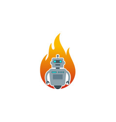 fire robot logo icon design vector image
