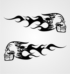 Flaming Skull Tattoo vector image