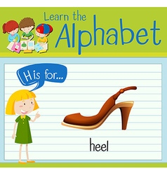 Flashcard letter H is for heel vector image