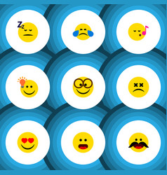 Flat icon emoji set of love pleasant have an vector