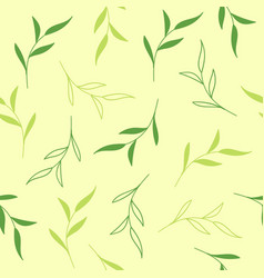 floral seamless pattern with tea leaves vector image