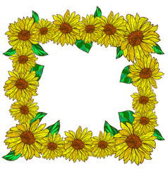 Flower decorative frame with sunflowers vector