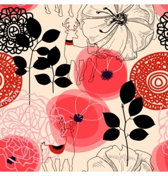 Flowers and deers seamless pattern vector image