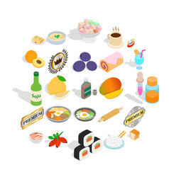 Food with vitamin icons set isometric style vector