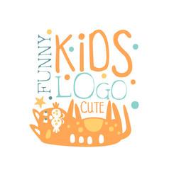 Funny cute kids logo bashop label fashion vector