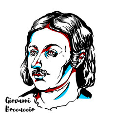 Giovanni boccaccio portrait vector