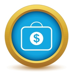 Gold bag with dollars icon vector image