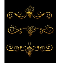 Golden grape borders vector