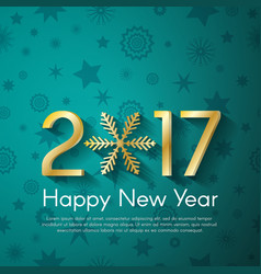 Golden new year 2017 concept on turquoise vintage vector