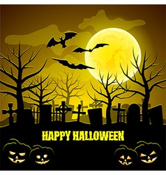 Graveyard and pumpkins Halloween background vector image