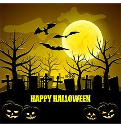 Graveyard and pumpkins Halloween background vector