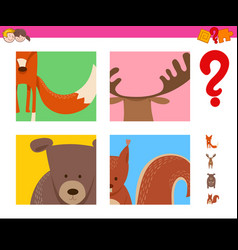 Guess wild animals activity for kids vector