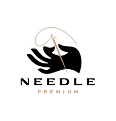 hand hold holding needle thread logo icon vector image