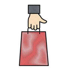 Hand with shopping bag isolated icon vector