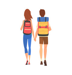 happy couple walking holding hands tourists vector image