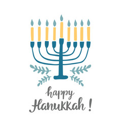 Happy hanukkah greeting card with modern lettering vector