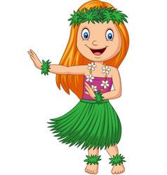 hawaiian girl dancing hula on white background vector image