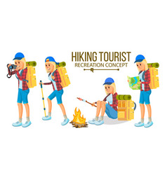 hiking woman hiking in mountains vector image